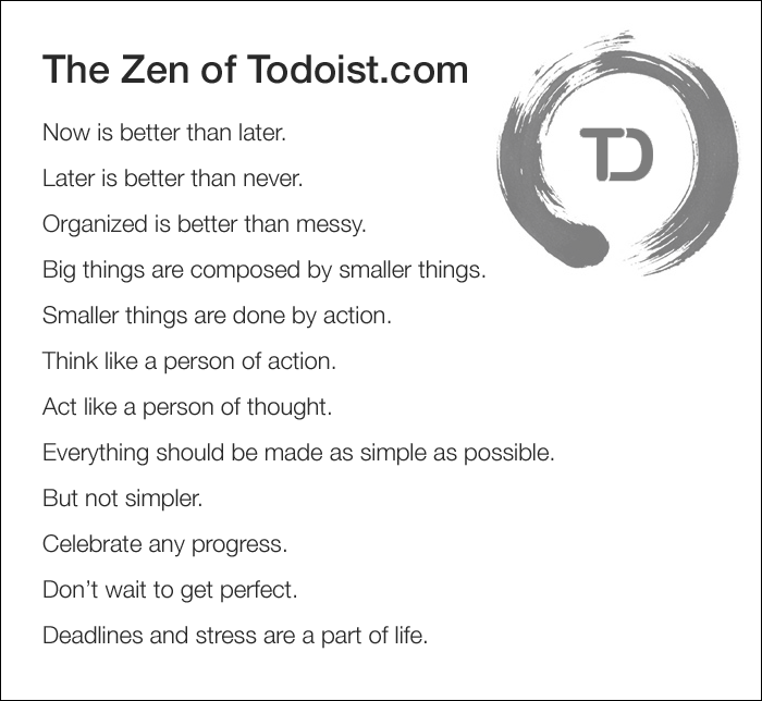 Zen of todo list